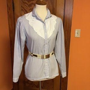 Vintage stripes feminine lace poufy sleeves shirt